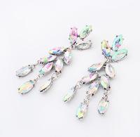 Europe Style Long Luxury Crystal  Dangle Chandelier earrings Stud Crystal Rhinestone Women Earring Accessories