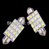 2X 41mm 1210 3528 16 SMD LED White Car Dome Festoon Interior Light Bulbs Auto Car Festoon LED Licence Plate Dome Roof Car Light