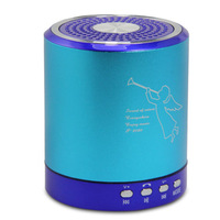 T-2020 Portable Music Speaker USB/TF Slot Support FM Radio MP3 MP4 Player Blue