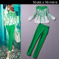 2014 spring female set long trousers female cutout top fashion green casual set free shipping