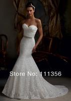 New 2014 Free Shipping Wholesale New white/ivory Lace Mermaid Wedding Dress Custom Size 2-4-6-8-10-12-14-16