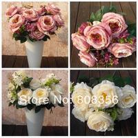 "NEW 10Pcs/lot 55cm/21.65"" Length Five Colors Artificial Silk Continental Flower Simulation Belle Big Rose Wedding Flowers"