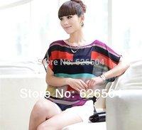 2014 fashion Women Striped chiffon blouse Multi-colour print shirts Loose Short Sleeve casual blusas femininas plus tops S-XXXL