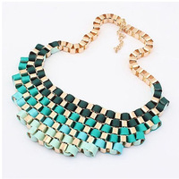 Vintage Exaggerated Metal Chunky Bib Necklace For Women Jewerly Fashion Statement Collar Necklace 2014 Choker Wholesale Jewelry
