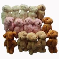 Wholesale #Brown H=6cm 100pcs/lot Cartoon Long Wool Plush Mini Joint Bear Bare Teddy Bear For Key/Phone/Bag Stuffed Dolls