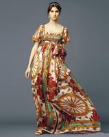 2014 Summer Brand Vintage Ethnic Style Print Short Sleeve & With Bow Belt Runway Silk Long Dress
