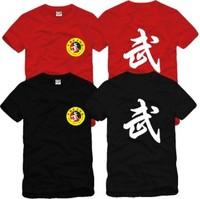 On Sale 100% Cotton martial China Kongfu  arts T-shirts tai chi clothing memorial o-neck short-sleeve leotard tees and shirts
