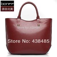 New 2014 Rivet Designer Black First Layer Genuine Leather Women Handbags Cowhide Messenger Tote Shoulder Bag Crossbody Wholesale