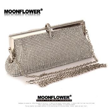 Мода женщин полный алмазов сумка Высокое качество серебряный кристалл вечерняя сумочка ...