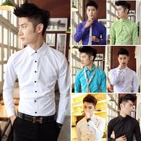 The new men's long sleeve shirt fashion Korean men cultivating high quality iron shirts New England style shirt