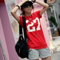Hot Sale New Summer 2014 Fashion Cotton Short-sleeve T-shirts Number 27 Print Soft Women Basic Undershirts Tees 6 Colors