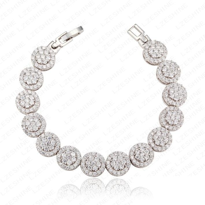 Elegant Round AAA Zircon Charms Bracelet Micro Inlay Craft Jewelry Cubic Zirconia Diamond Studded CZ Wedding Bracelets & Bangles(China (Mainland))