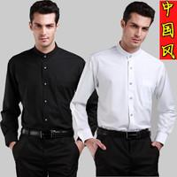 2014 spring stand collar shirt male long-sleeve men's black and white shirt stripe o-neck shirt