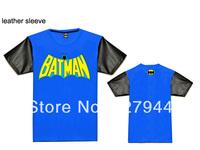 Free Shipping 2014 Hot sale 9 styles Batman Leather sleeve T shirts 100% cotton Men's fashion T-shirts short sleeve Szie S-XXXL