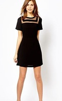 New Arrival Woman back zipper Dress Lady black perspective casual dresses