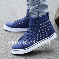 High-top canvas shoes boys casual shoes men shoes British fashion rivet tide shoes Korean version 2 Colors Available