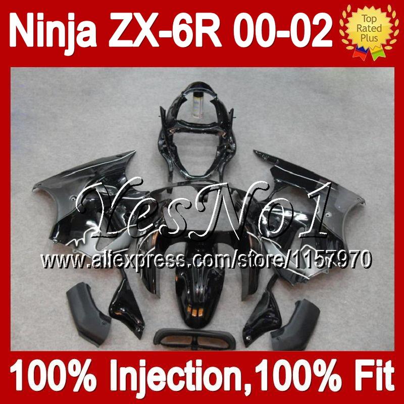 7gifts For black silver KAWASAKI NINJA ZX6R 2000 2001 2002 Q7144 ZX636 Injection black silvery ZX-6R ZX 6R 636 00 01 02 Fairing(China (Mainland))