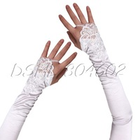 "17"" White Fingerless Lace Stretch Satin Bridal Wedding Formal Dress Gloves"