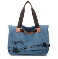 large capacity fashion women canvas handbag tote casual shoulder bag blue khaki red free shipping