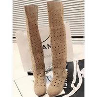 Fashion summer hole shoes  high-leg cutout scrub velvet knee-length boots flat boots tall boots