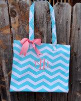 Set of 10 Aqua Chevron bag Personalized Bridesmaid Gift Totes bag