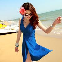 2014 swimwear female steel push up size one-piece dress hot spring swimsuit  323