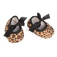 Fashion Infant Baby Ribbon Leopard Print Antislip Shoe Prewalker