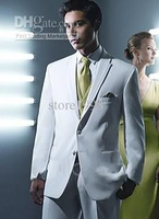 Wholesale - custom white dress and groom groomsman two buttons Men Wedding Suit ( Jacket + pants + tie + vest ) M494