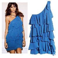 New Fashion 2014 Spring Summer Casual Sweet One Shoulder Chiffon Women Dress Blue 115