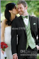 Wholesale - black suit vest Sage peak lapel tuxedo groom groomsman groomsmen men wedding dress Groom ( Jacket + pants + tie + ve