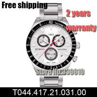New 2014 Sapphire Glass ETA Quartz Chip Mens Chronograph Watch T044.417.21.031.00 T044 White Dial Wristwatch Original Box