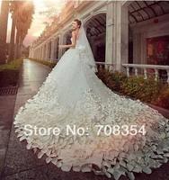 2014 New Arrival Luxury  One Thousand Handmade Flowers A-grade Austria Diamond Long Trailing Wedding Dress(can be customized) 19