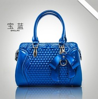 2014 new fashion women's handbags bright skin patent leather bow bag women messenger bags women leather handbags