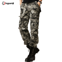 Spring male Camouflage pants overalls male outdoor multi pocket pants casual trousers lovers overalls  free shipping
