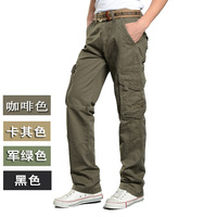 Multi-pocket overalls 100% cotton male outdoor casual pants straight multi-pocket casual pants loose Camouflage pants