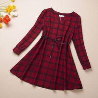 New 2014 Spring Casual Floral Dresses Luxury Brand Plaid Dress Women Puff Sleeve Linen Dress Loose Design Korean Dress