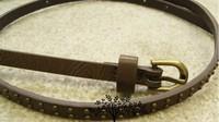 Punk Style Brown Casual Female Women's  Rivet Thin Waist PU Belt