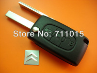 3 button flip remote key shell with light button 407 HU83 Blade with groove on With battery place for Citroen