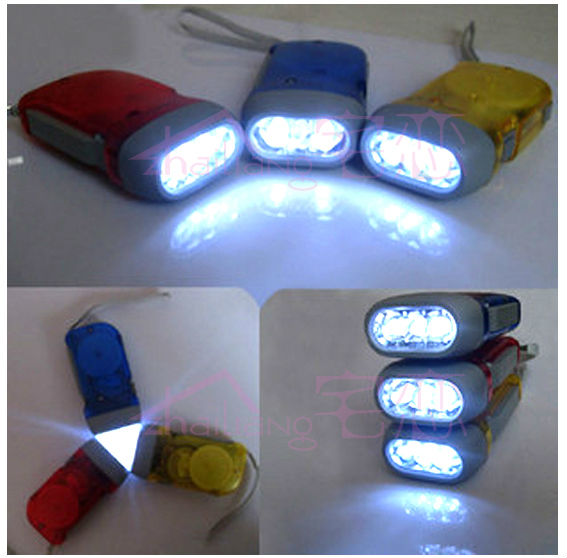 Hand Press No Battery Wind Up Crank 3 LED Flashlight Camping Torch for Outdoors(China (Mainland))