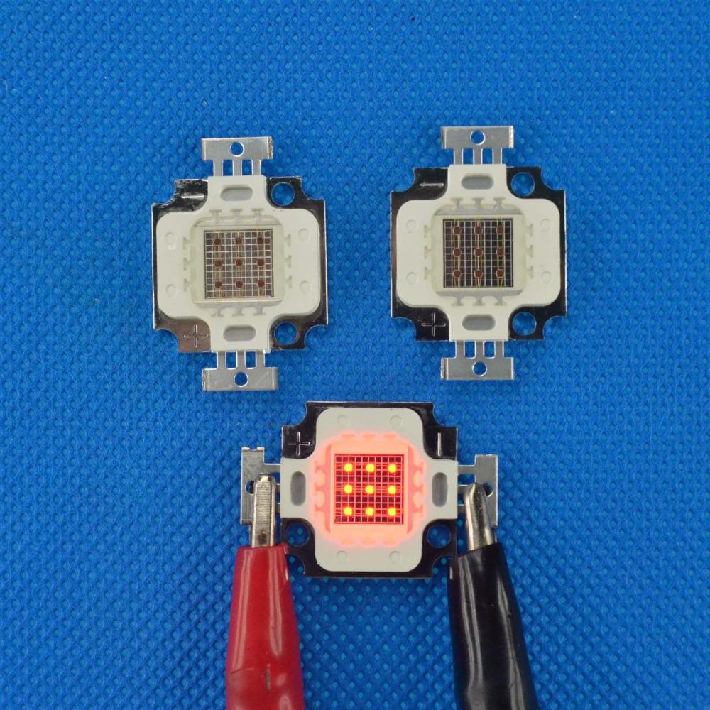 10pcs 10watt Red led source 10w chip diodes 660nm power diy led lighting lamp plant grow light free shipping(China (Mainland))