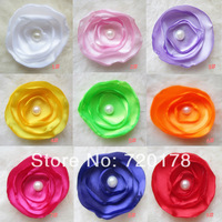 "50pcs/lot,9colors in stock,new 2014,3"" mixed colors Satin Poppy Layered Fabric Flowers W/ pearl For baby Hair accessories,XMF02"