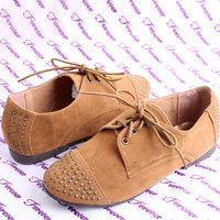 Women's shoes fashion preppy style rivet shoes flat heel brockden lacing single shoes velvet plus size shoes