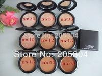 15pcs/lot mc brand makeup powder plus foundation studio fix +powder puffs 15g 20 different color dropship free shipping