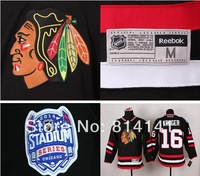 Wholesale-Free Shipping Cheapest 2014 Stadium Series  Ice Hockey Jersey Blackhawks Marcus Kruger #16 Black
