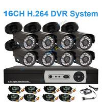 16 Channel 700TVL Bullet Outdoor Cameras CCTV System 16ch DVR Support 2TB HDD 1080P HDMI Security Camera DIY kit