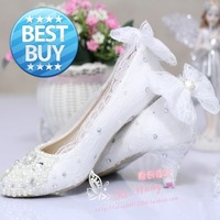 2014 fashion Lace women's pumps white pearl  rhinestone shoes party dance shoes ladies women's shoes wedding high heels