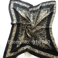 Free Shipping! 100% pure silk  Scarf , 90cm*90cm square scarves,black and gold print scarves