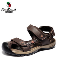 VANCAMEL genuine men's shoes, men Outdoor recreational Sandal, breathable summer sandals,genuine leather Velcro  men's sandals