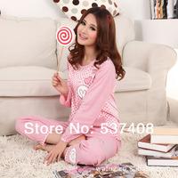 2014 spring and autumn fashion gentlewomen women's dot rabbit long-sleeve sleepwear lounge set women's robes of cotton pajamas