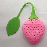 Strawberry Design Silicone Tea Leaf Strainer Herbal Spice Infuser Filter Pink Color